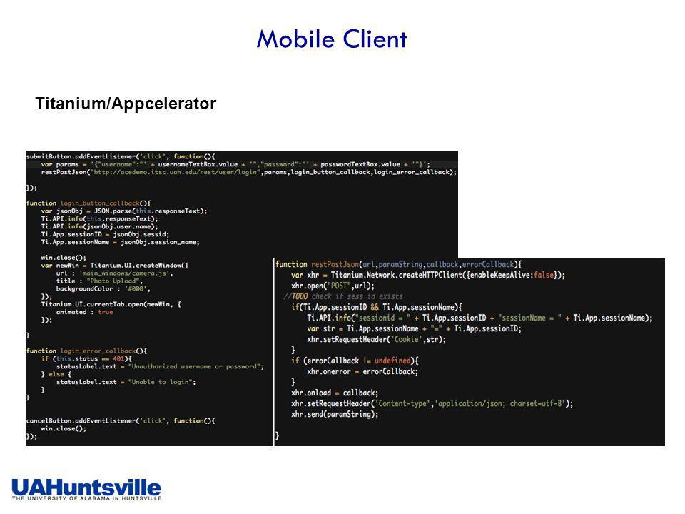 Mobile Client Titanium/Appcelerator
