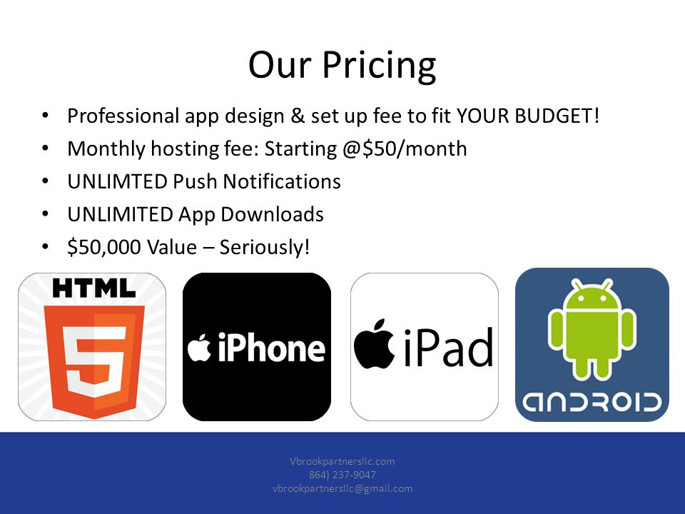 Professional app design & set up fee to fit YOUR BUDGET.