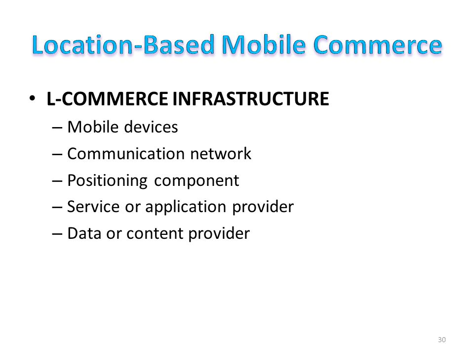 L-COMMERCE INFRASTRUCTURE – Mobile devices – Communication network – Positioning component – Service or application provider – Data or content provider 30