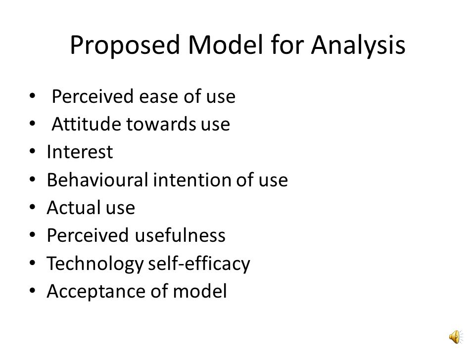 Explanation of Model The studys framework is based on Davis (1986) Technology Acceptance Model (TAM) which made use of the Theory of Reasoned Action (