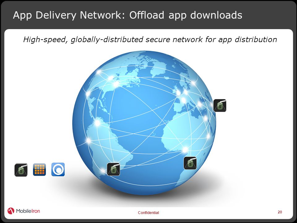 20 Confidential App Delivery Network: Offload app downloads High-speed, globally-distributed secure network for app distribution