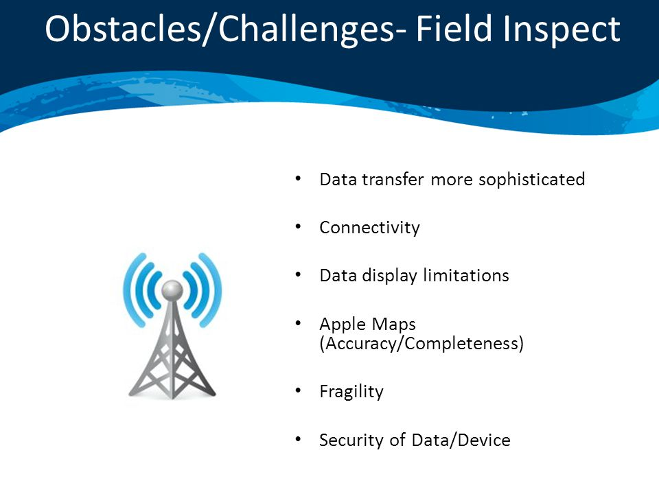 Data transfer more sophisticated Connectivity Data display limitations Apple Maps (Accuracy/Completeness) Fragility Security of Data/Device Obstacles/Challenges- Field Inspect