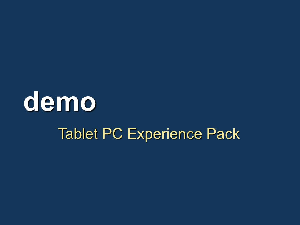 Tablet PC Experience Pack demo
