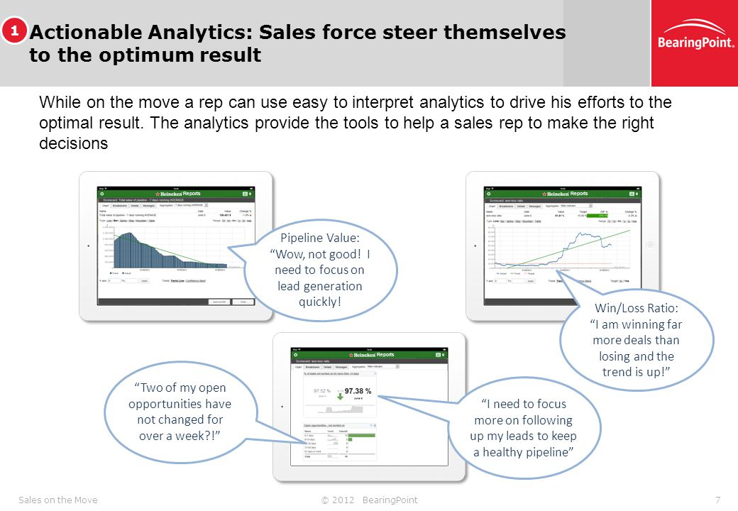 © 2012 BearingPoint7Sales on the Move Actionable Analytics: Sales force steer themselves to the optimum result While on the move a rep can use easy to interpret analytics to drive his efforts to the optimal result.
