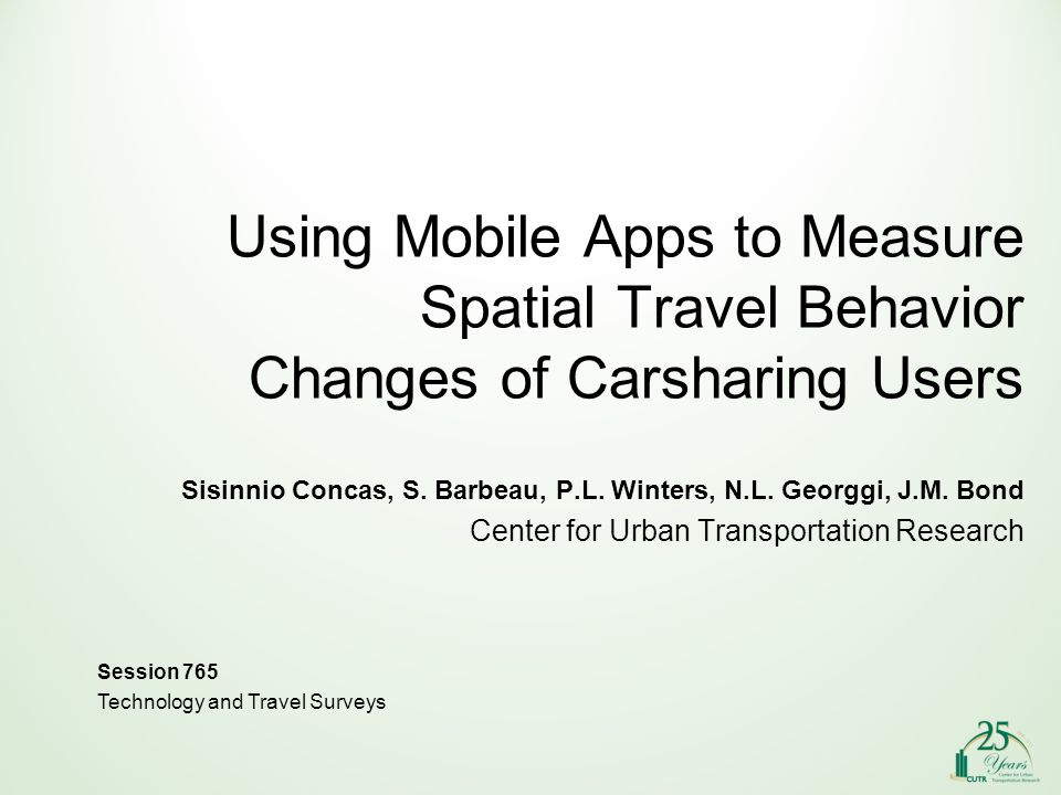 Using Mobile Apps to Measure Spatial Travel Behavior Changes of Carsharing Users Sisinnio Concas, S.