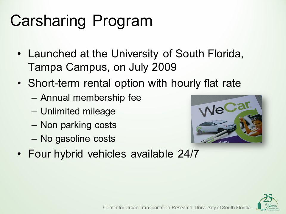 Center for Urban Transportation Research, University of South Florida Program Participation