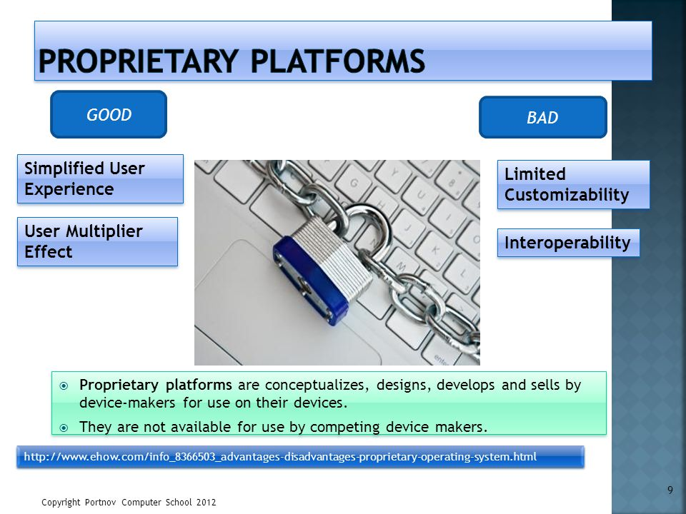 Copyright Portnov Computer School 2012 9 Simplified User Experience GOOD BAD User Multiplier Effect http://www.ehow.com/info_8366503_advantages-disadv