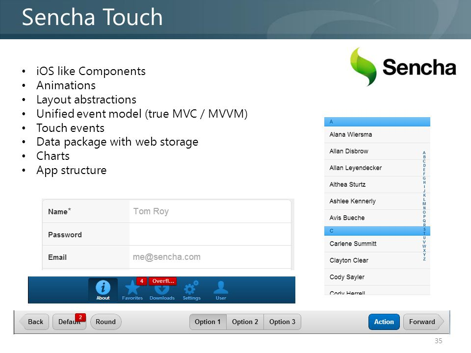Sencha Touch 35 iOS like Components Animations Layout abstractions Unified event model (true MVC / MVVM) Touch events Data package with web storage Charts App structure