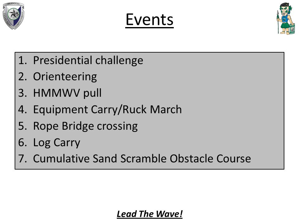 Events 1.Presidential challenge 2.Orienteering 3.HMMWV pull 4.Equipment Carry/Ruck March 5.Rope Bridge crossing 6.Log Carry 7.Cumulative Sand Scramble Obstacle Course Lead The Wave!