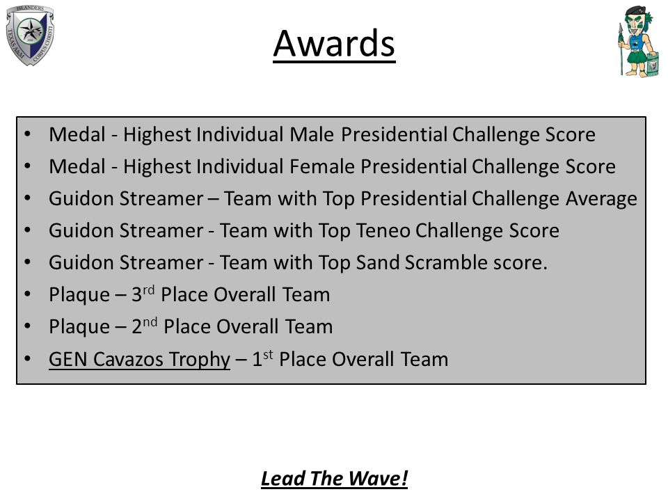 Awards Medal - Highest Individual Male Presidential Challenge Score Medal - Highest Individual Female Presidential Challenge Score Guidon Streamer – Team with Top Presidential Challenge Average Guidon Streamer - Team with Top Teneo Challenge Score Guidon Streamer - Team with Top Sand Scramble score.