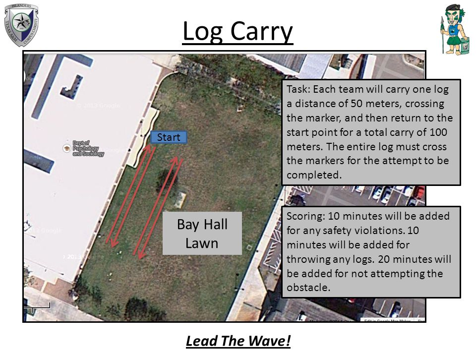 Log Carry Start Task: Each team will carry one log a distance of 50 meters, crossing the marker, and then return to the start point for a total carry of 100 meters.