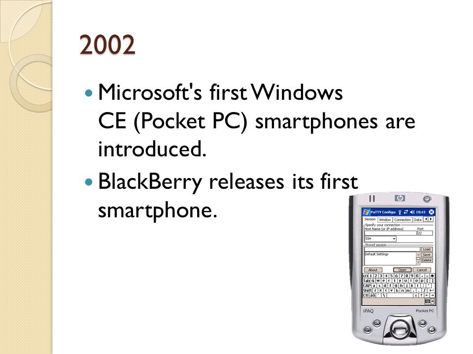 2002 Microsoft's first Windows CE (Pocket PC) smartphones are introduced. BlackBerry releases its first smartphone.