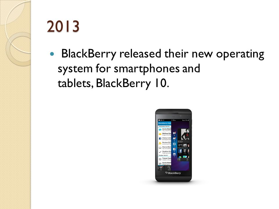2013 BlackBerry released their new operating system for smartphones and tablets, BlackBerry 10.