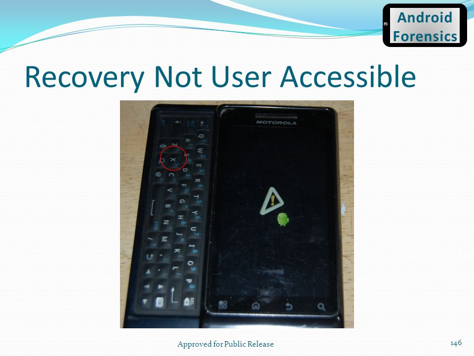 Recovery Not User Accessible Approved for Public Release 146 Android Forensics