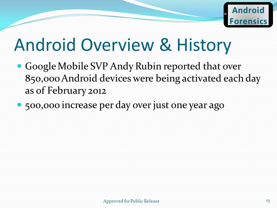 Android Overview & History Google Mobile SVP Andy Rubin reported that over 850,000 Android devices were being activated each day as of February 2012 5