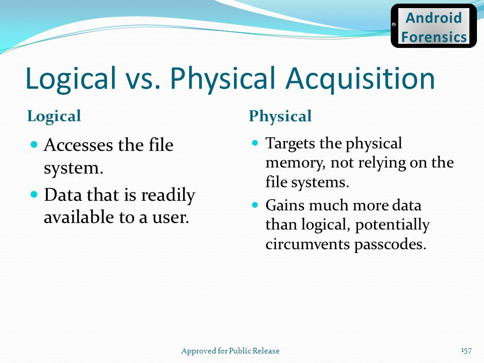 Logical vs. Physical Acquisition Logical Physical Accesses the file system. Data that is readily available to a user. Targets the physical memory, not