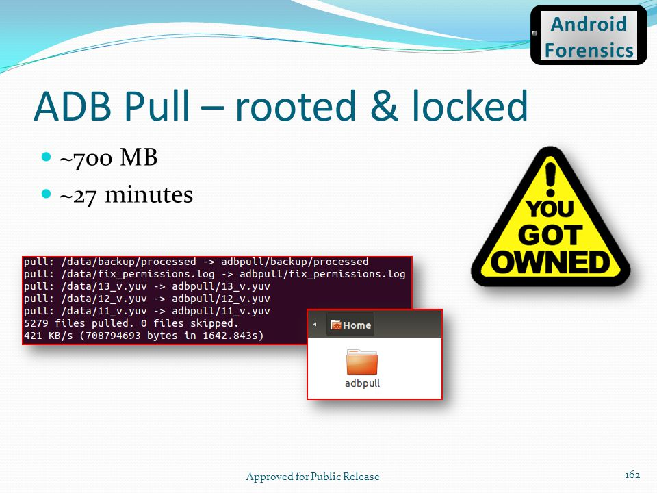 ADB Pull – rooted & locked ~700 MB ~27 minutes Approved for Public Release 162 Android Forensics