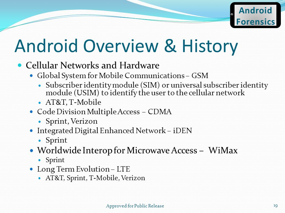 Android Overview & History Cellular Networks and Hardware Global System for Mobile Communications – GSM Subscriber identity module (SIM) or universal