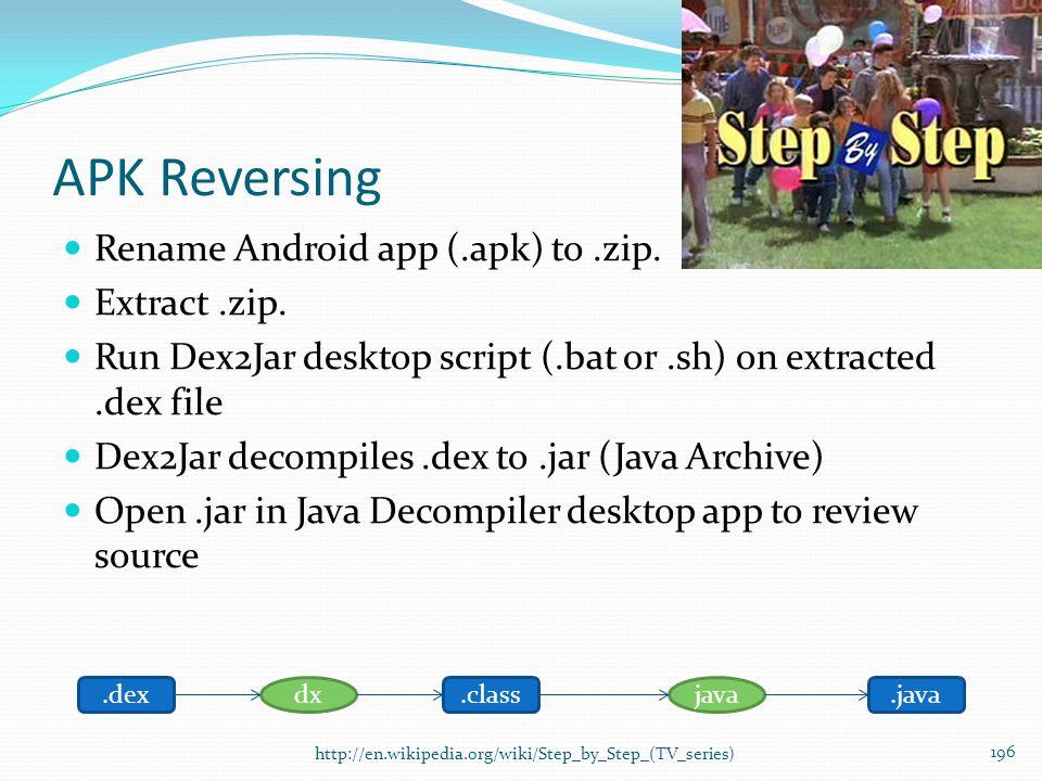 APK Reversing Rename Android app (.apk) to.zip. Extract.zip. Run Dex2Jar desktop script (.bat or.sh) on extracted.dex file Dex2Jar decompiles.dex to.j