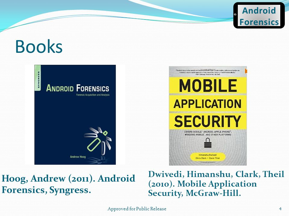 ROM & Boot Loaders Source: The Android boot process from power on by Mattias Björnheden of the Android Competence Center at Enea 45 Android Forensics