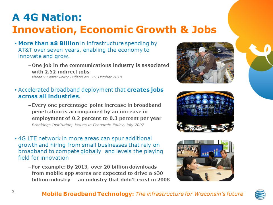 A 4G Nation: Innovation, Economic Growth & Jobs 5 More than $8 Billion in infrastructure spending by AT&T over seven years, enabling the economy to innovate and grow.