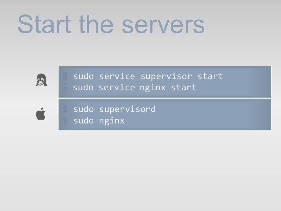 Start the servers $ sudo service supervisor start $ sudo service nginx start $ sudo supervisord $ sudo nginx