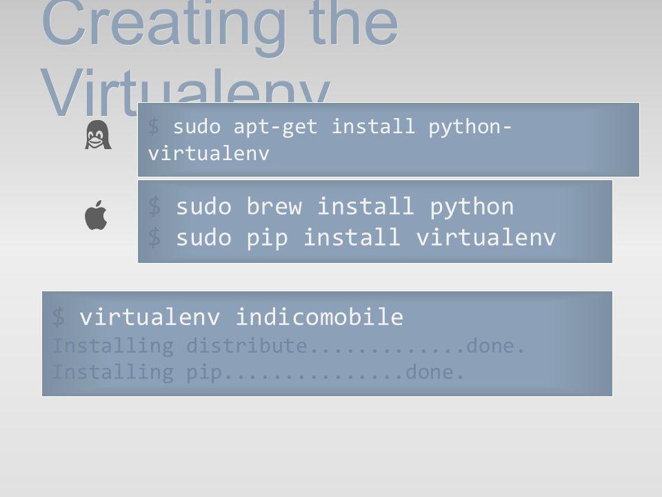 Creating the Virtualenv $ virtualenv indicomobile Installing distribute.............done. Installing pip...............done. $ sudo apt-get install py