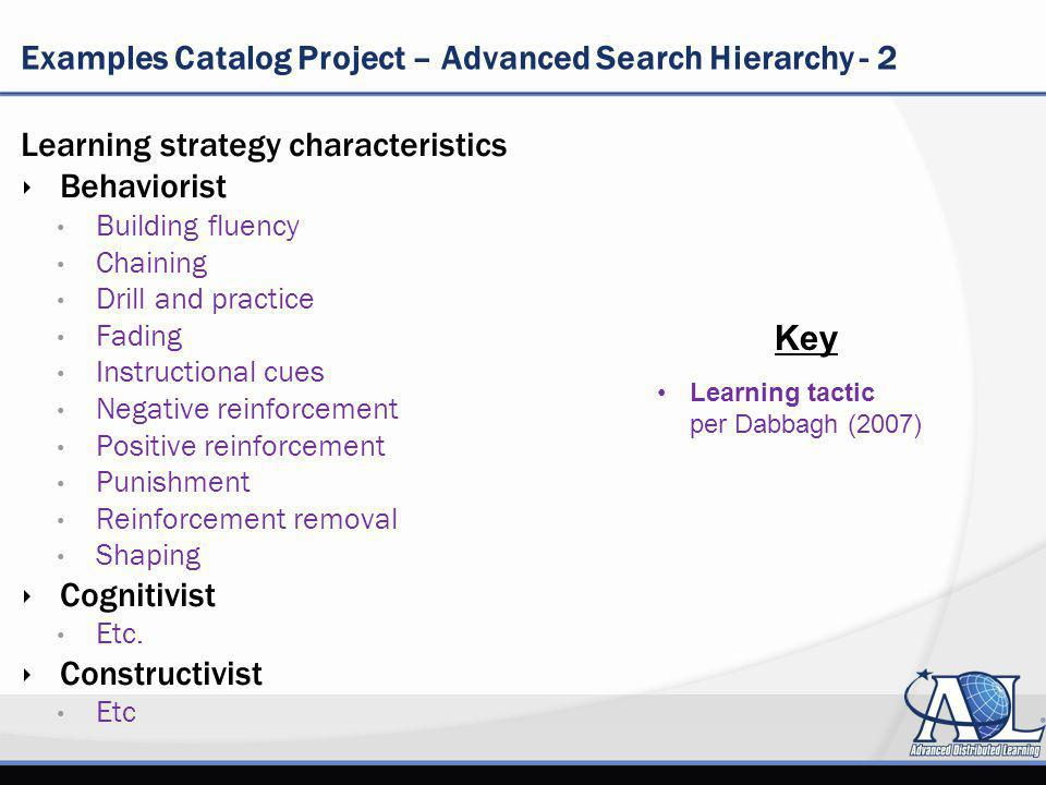 Examples Catalog Project – Advanced Search Hierarchy - 2 Learning strategy characteristics Behaviorist Building fluency Chaining Drill and practice Fading Instructional cues Negative reinforcement Positive reinforcement Punishment Reinforcement removal Shaping Cognitivist Etc.