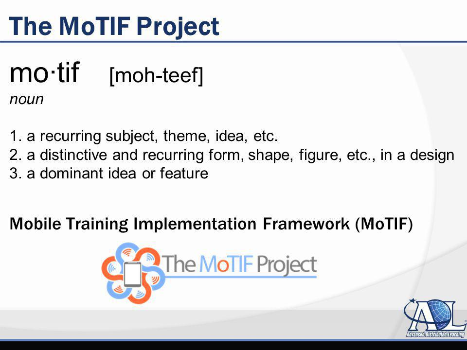 The MoTIF Project mo·tif [moh-teef] noun 1. a recurring subject, theme, idea, etc.