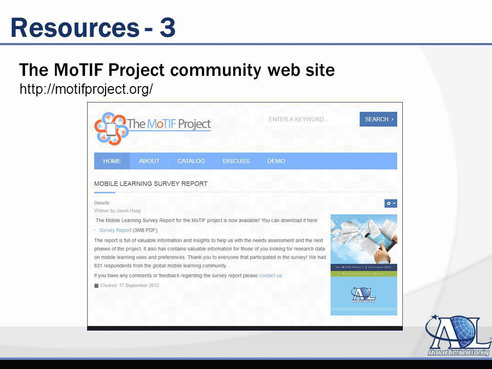 Resources - 3 The MoTIF Project community web site