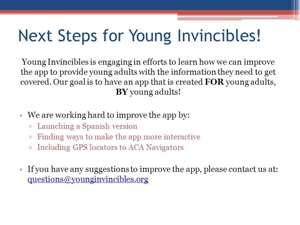 Next Steps for Young Invincibles.