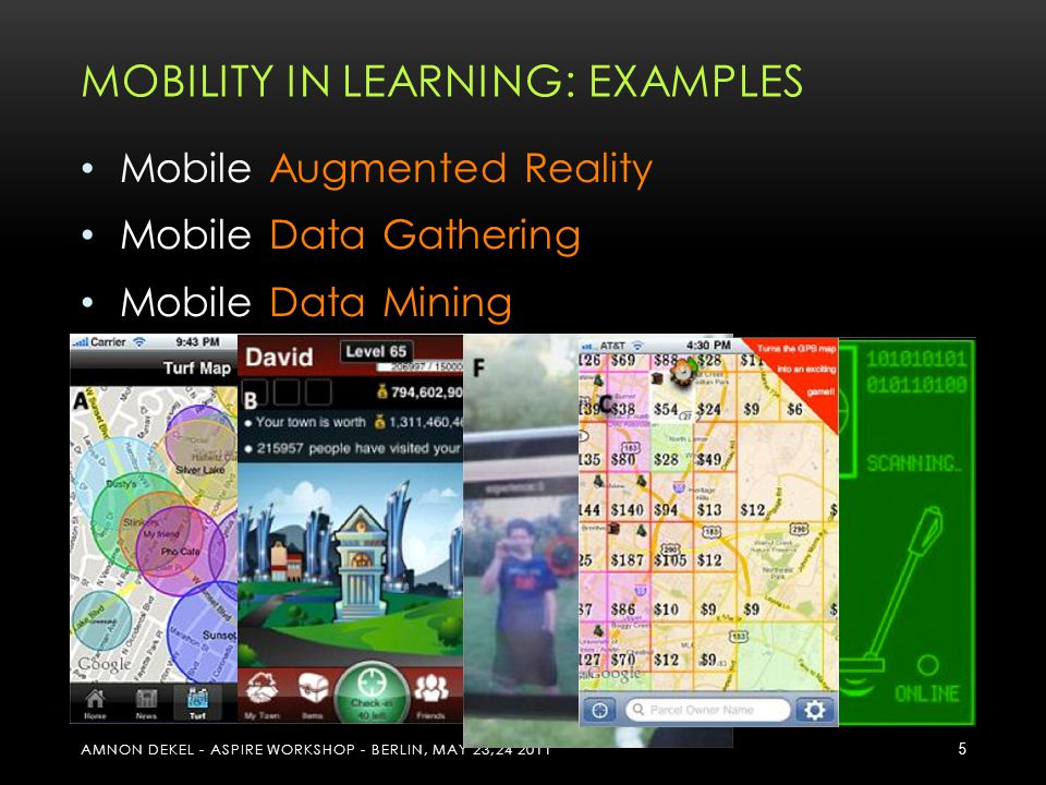 MOBILITY IN LEARNING: EXAMPLES Mobile Augmented Reality Mobile Data Gathering Mobile Data Mining Mobile Geo-Local Edutainment Mobile Social Networks Design & Development of Mobile Services as Learning Tools AMNON DEKEL - ASPIRE WORKSHOP - BERLIN, MAY 23,24 2011 5