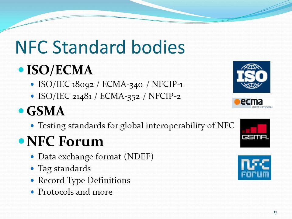 NFC Standard bodies ISO/ECMA ISO/IEC 18092 / ECMA-340 / NFCIP-1 ISO/IEC 21481 / ECMA-352 / NFCIP-2 GSMA Testing standards for global interoperability
