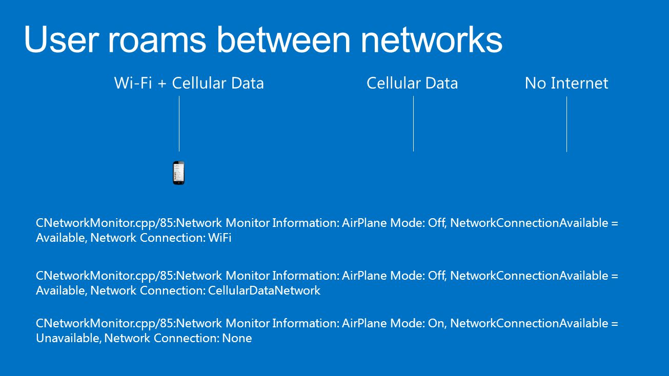 CNetworkMonitor.cpp/85:Network Monitor Information: AirPlane Mode: Off, NetworkConnectionAvailable = Available, Network Connection: WiFi CNetworkMonit