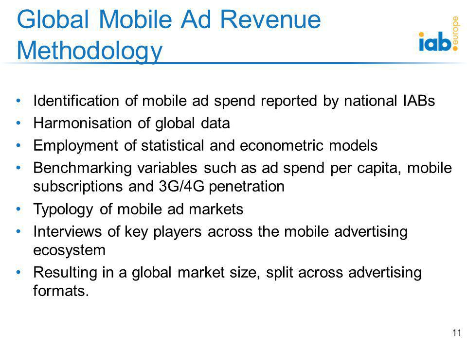 Identification of mobile ad spend reported by national IABs Harmonisation of global data Employment of statistical and econometric models Benchmarking variables such as ad spend per capita, mobile subscriptions and 3G/4G penetration Typology of mobile ad markets Interviews of key players across the mobile advertising ecosystem Resulting in a global market size, split across advertising formats.