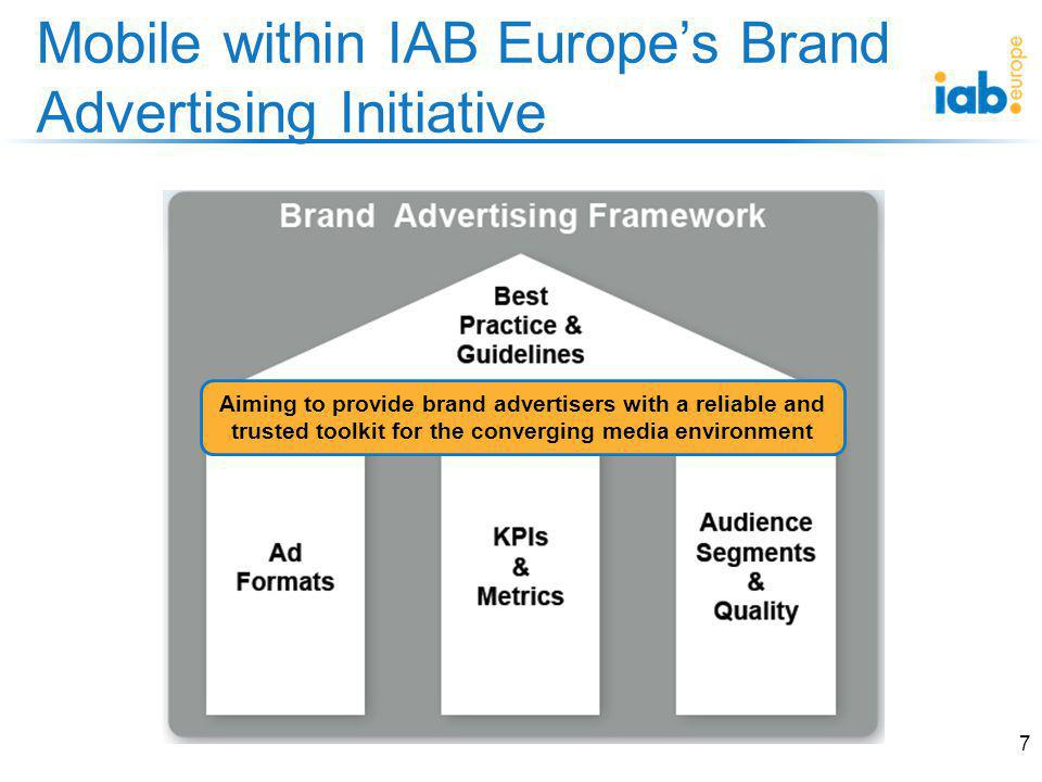 IAB Europes Ad Formats Survey 8 PC / Tablet / Mobile In-Page / In-Stream Frequency use Growth rates Technology specs Survey open until end of July.
