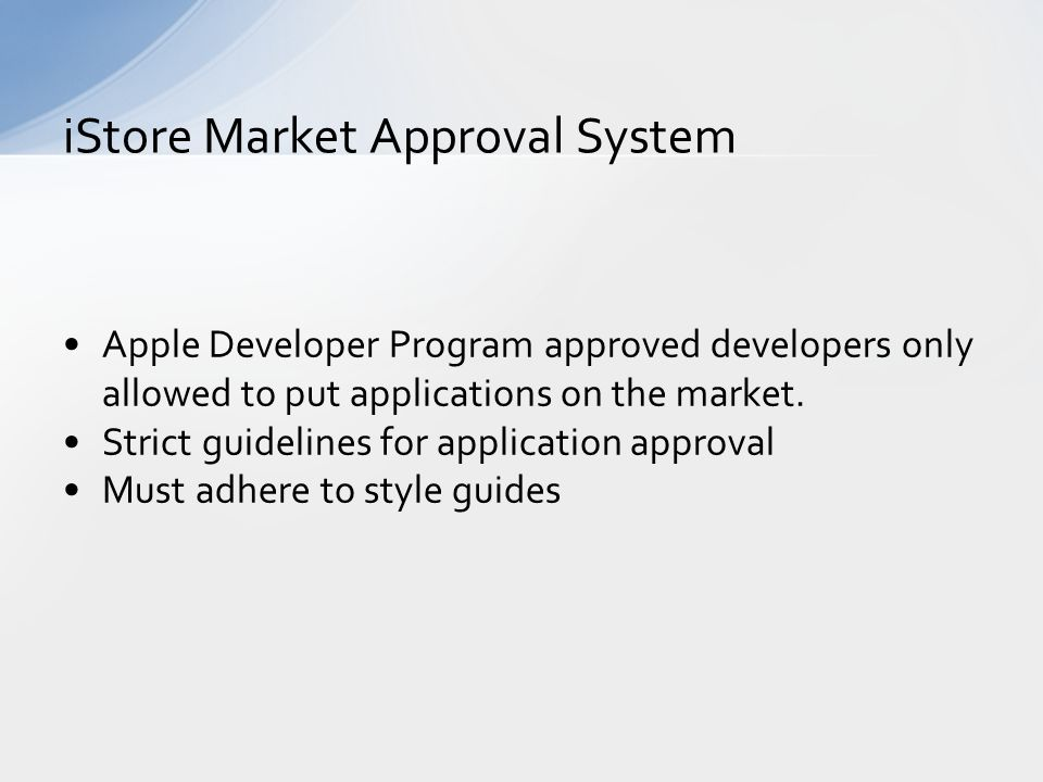 Apple Developer Program approved developers only allowed to put applications on the market.