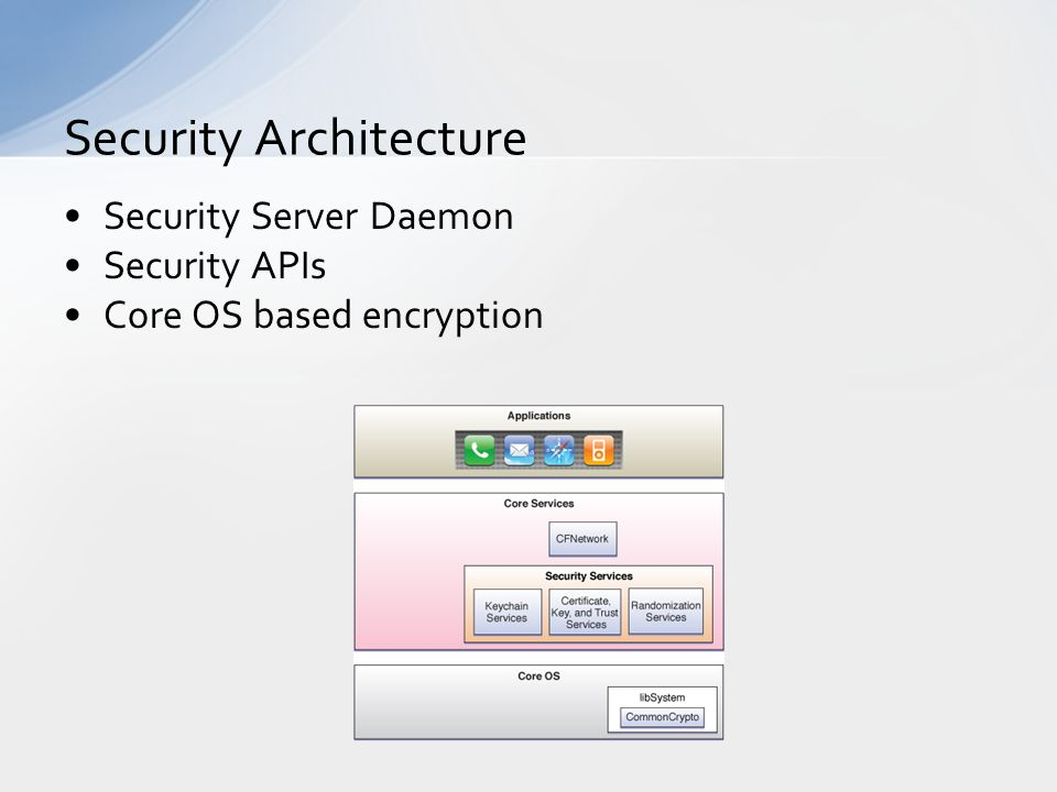 Security Server Daemon Security APIs Core OS based encryption Security Architecture