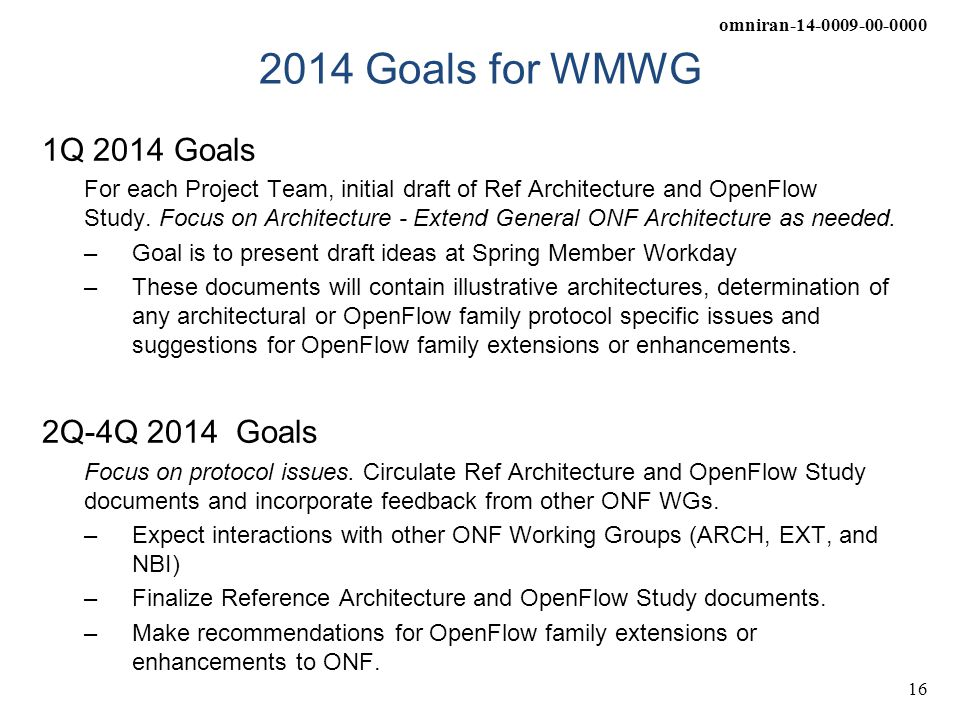omniran-14-0009-00-0000 16 2014 Goals for WMWG 1Q 2014 Goals For each Project Team, initial draft of Ref Architecture and OpenFlow Study. Focus on Arc