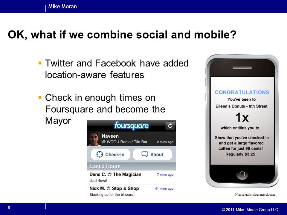 Mike Moran © 2010 Mike Moran © 2011 Mike Moran Group LLC OK, what if we combine social and mobile.