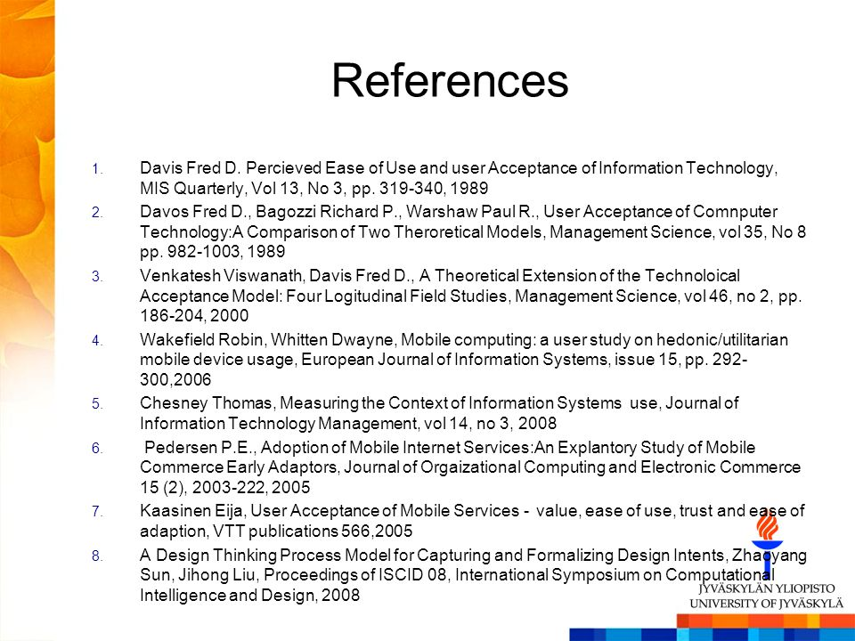 References 1. Davis Fred D.