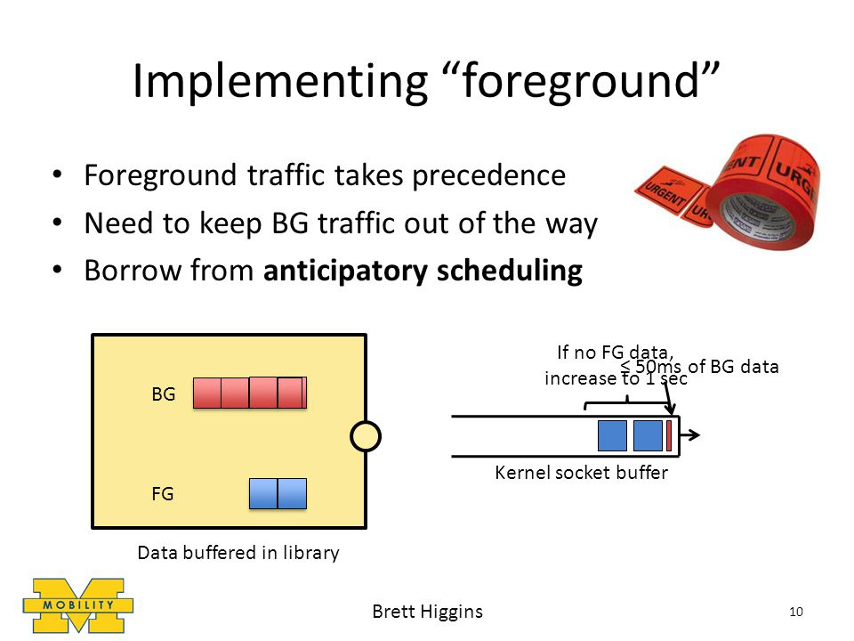 Implementing foreground Foreground traffic takes precedence Need to keep BG traffic out of the way Borrow from anticipatory scheduling 10 Kernel socket buffer Data buffered in library BG FG 50ms of BG data Brett Higgins If no FG data, increase to 1 sec