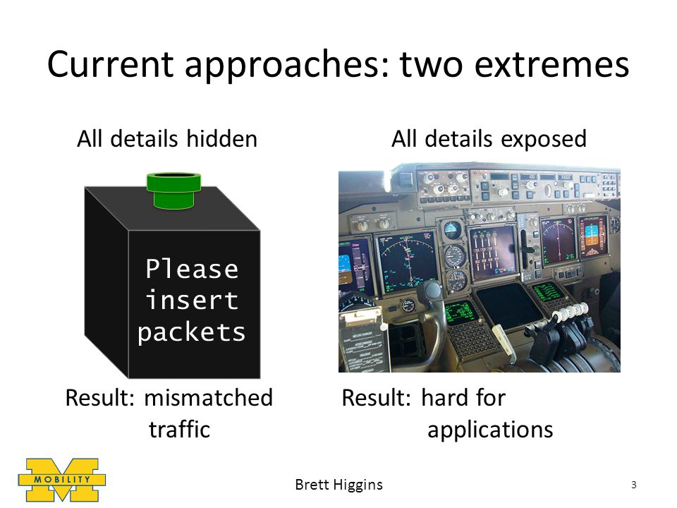 Current approaches: two extremes All details hidden All details exposed Result: mismatched Result: hard for traffic applications 3 Please insert packets Brett Higgins