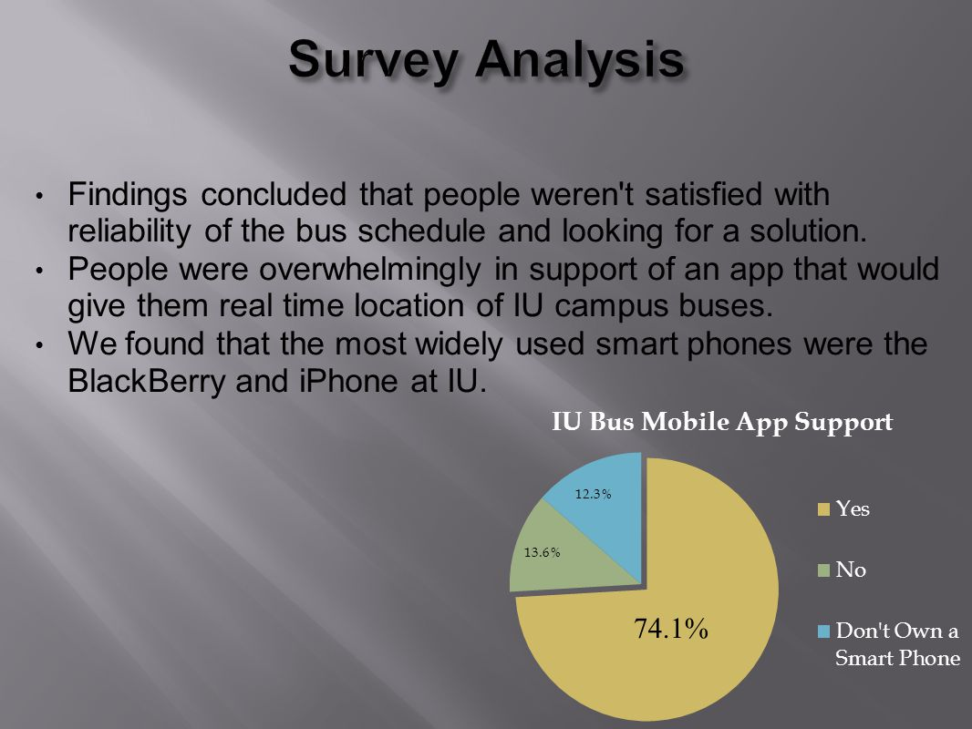 Findings concluded that people weren t satisfied with reliability of the bus schedule and looking for a solution.