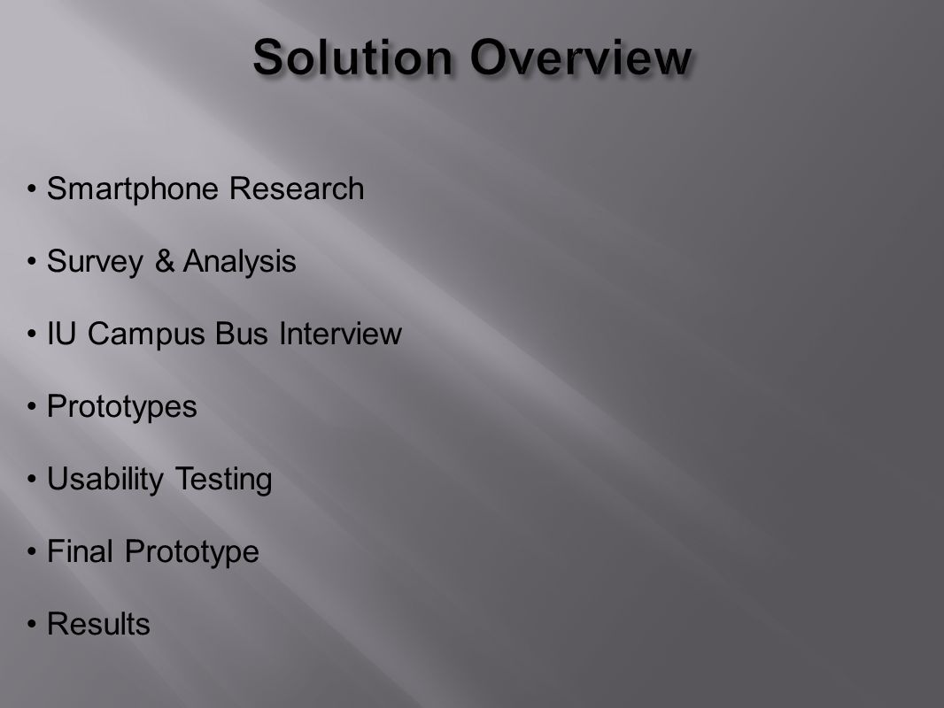 Smartphone Research Survey & Analysis IU Campus Bus Interview Prototypes Usability Testing Final Prototype Results