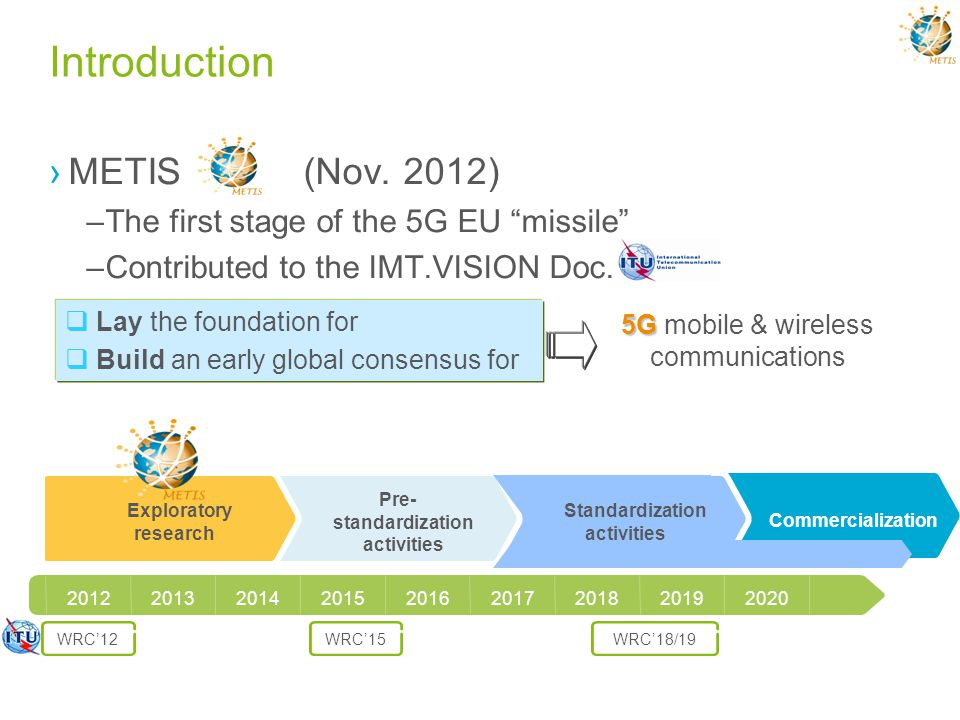 Introduction METIS (Nov. 2012) –The first stage of the 5G EU missile –Contributed to the IMT.VISION Doc. Lay the foundation for Build an early global