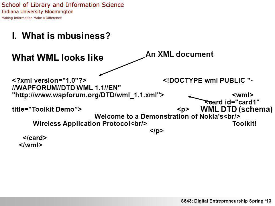 S643: Digital Entrepreneurship Spring 13 I. What is mbusiness? What WML looks like Welcome to a Demonstration of Nokia's Wireless Application Protocol