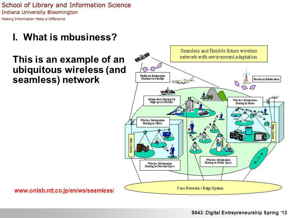 S643: Digital Entrepreneurship Spring 13 I. What is mbusiness? This is an example of an ubiquitous wireless (and seamless) network www.onlab.ntt.co.jp