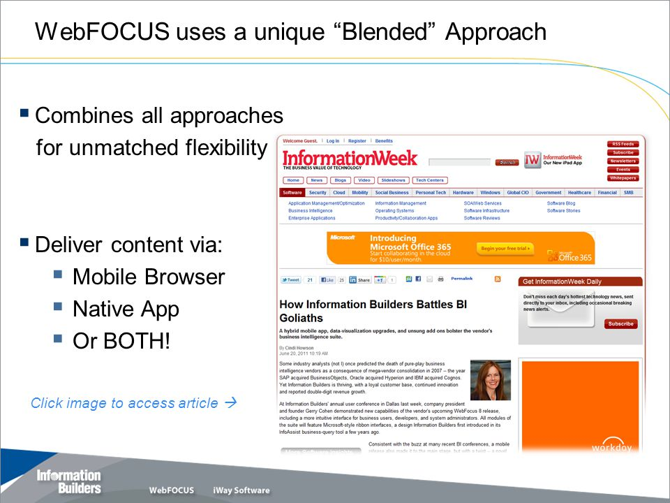 WebFOCUS uses a unique Blended Approach Copyright 2010, Information Builders.