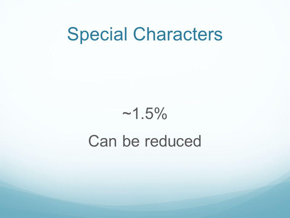 Special Characters ~1.5% Can be reduced